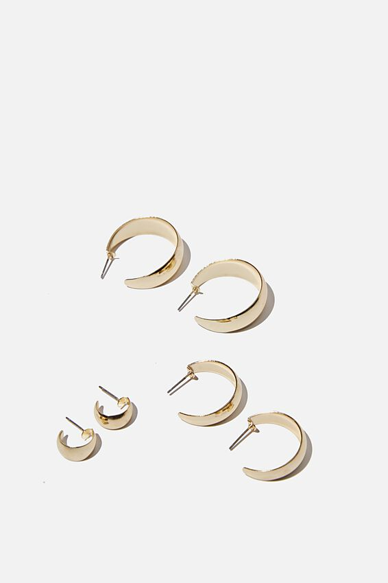3Pk Luxe Layers Hoops, BOLD GOLD