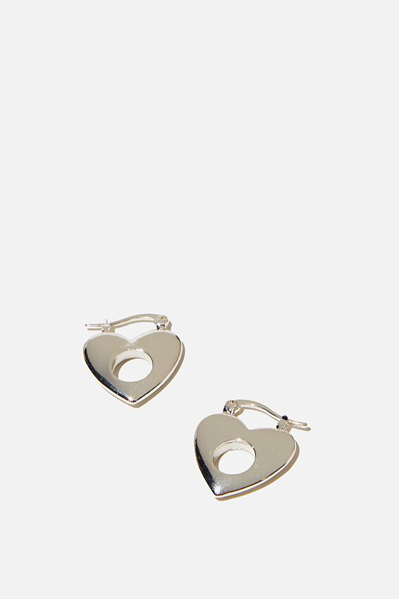 Noughties Hinge Hoop, HEART SILVER