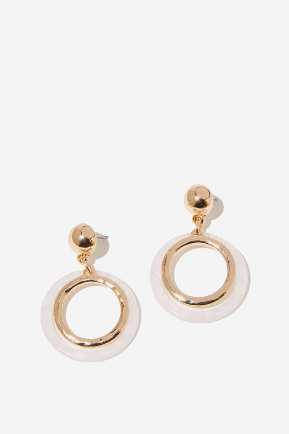 Thea Classic Earring, WHITE MOP/GOLD