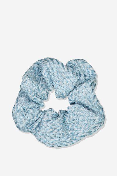 Luxe Scrunchie, BLUE WOVEN
