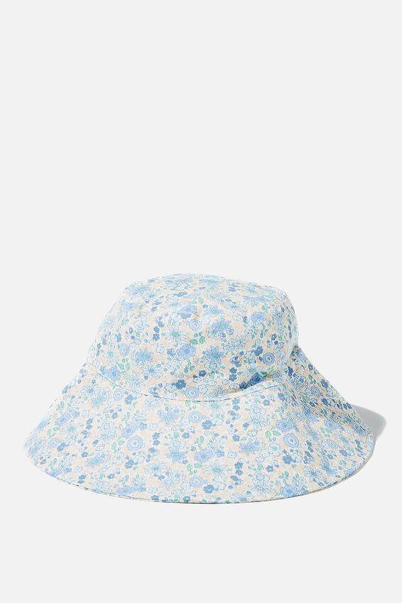 Zahra Wide Brim Sun Hat, ILLUSION BLUE DITSY FLORAL