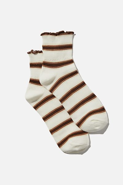 Frill Ribbed Quarter Crew Sock, DUSTY BROWN RETRO STRIPE