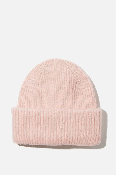 Racquel Ribbed Beanie, BLUSH