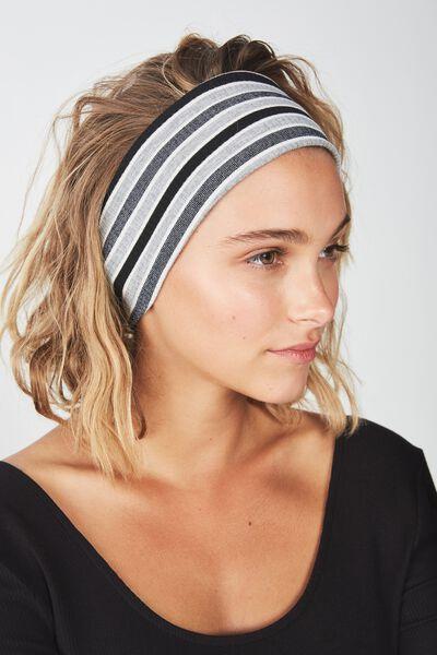 Farah Flat Rib Headband, GREY SPARKLE STRIPE RIB