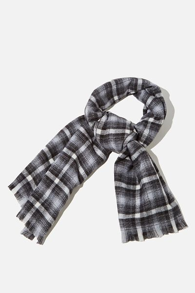 Millie Mid Weight Scarf, BLACK AND WHITE JAMIE CHECK