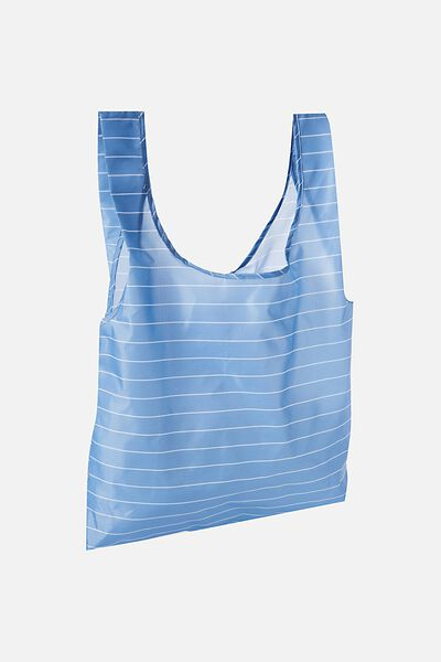 Foldable Market Bag, BLUE/WHITE STRIPE