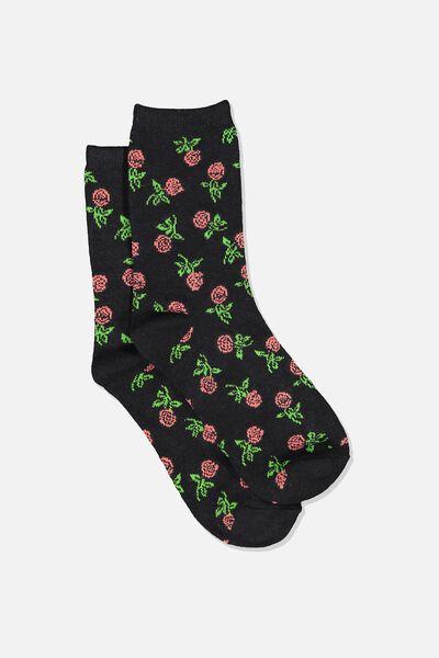 Carrie Crew Sock, BLACK/MINI ROSES