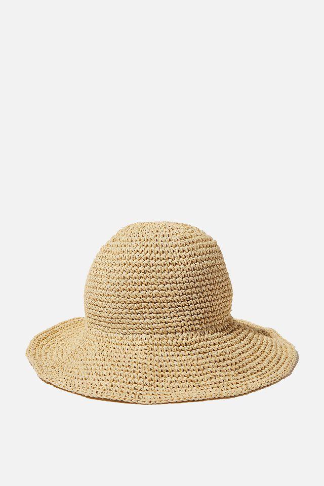 Kimberley Crochet Bucket Hat, NATURAL