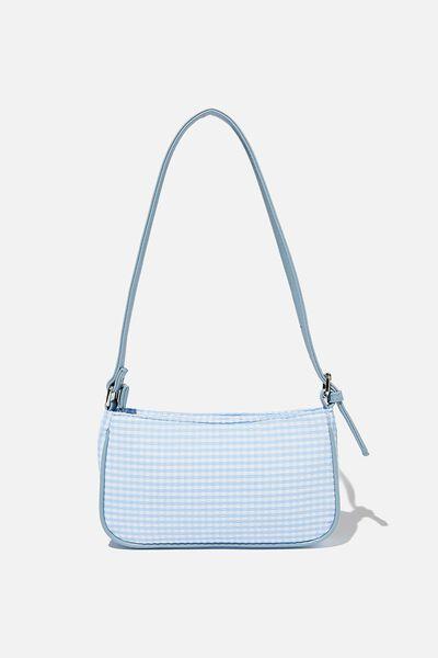 Lexi Underarm Bag, COLLEGIATE BLUE GINGHAM SEERSUCKER