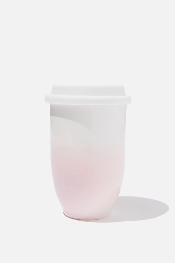 Double Walled Ceramic Travel Cup, WHITE PINK OMBRE