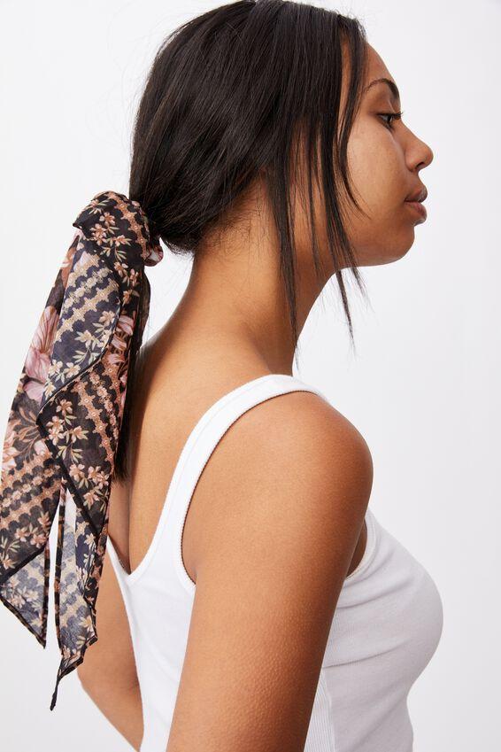 New York Convertble Scrunchie, KAIA FLORAL / SHELL BLACK