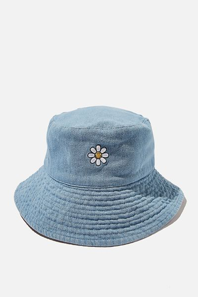 Elly Reversible Wide Brim Bucket Hat, LCN SMI SMILEY FLOWER/DENIM