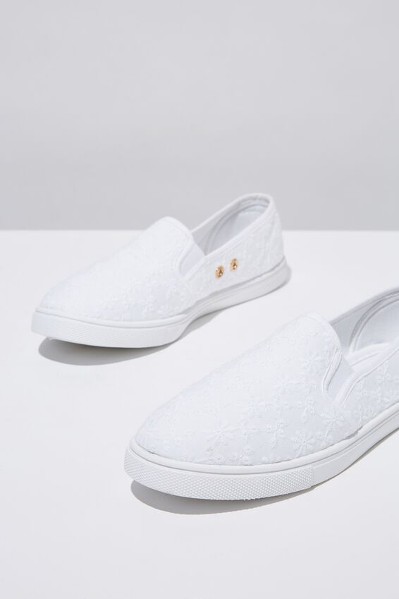 Holly Slip On, WHITE BRODERIE