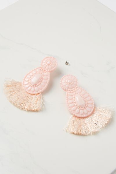 Baboshka Fan Tassel Statement Earring, BLUSH