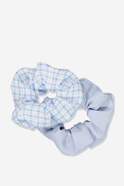 2Pk Scrunchie, SOFT BLUE WINDOW CHECK