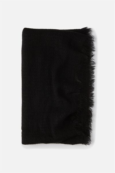 Cosy Fringe Snood, BLACK