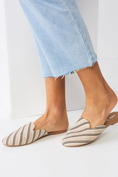 Sally Slipper Mule, WOVEN BLACK STRIPE
