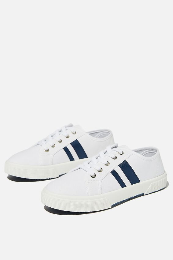Lisa Lace Up Plimsoll, WHITE NAVY STRIPE