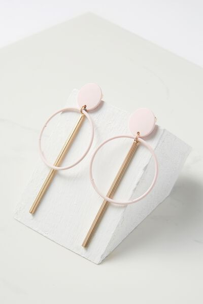 Coloured Double Hoop Statement Earring, PINK