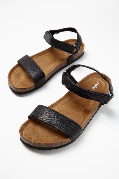 Rex Velcro Sandal, BLACK TEXTURE PU
