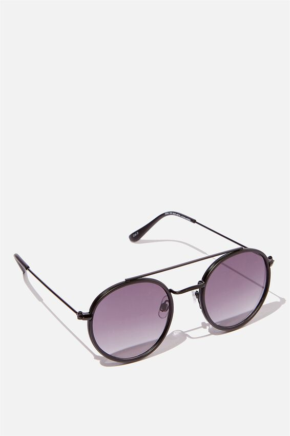 Demi Top Bar Metal Sunglasses, BLACK