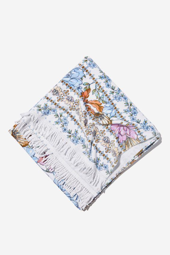 Bondi Rectangle Towel, WHITE/BLUE SHELL FLORAL