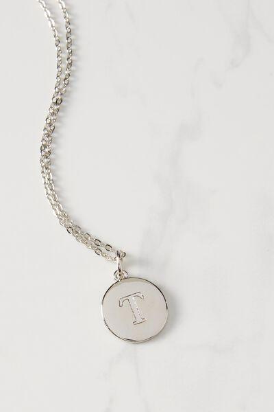 Letter Flat Pendant Necklace, SILVER - T