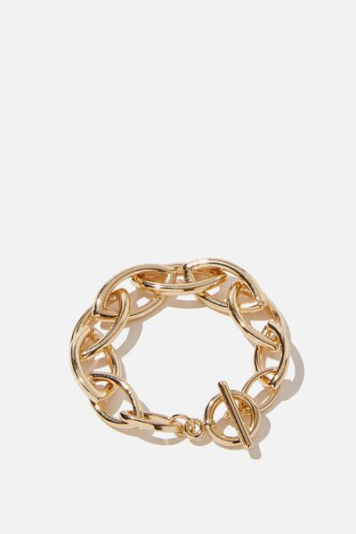 Luxe Layers Oval Links Bracelet, GOLD