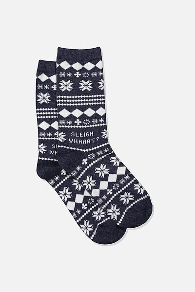 Carrie Crew Sock, NAVY MARLE/SLEIGH WHAT XMAS
