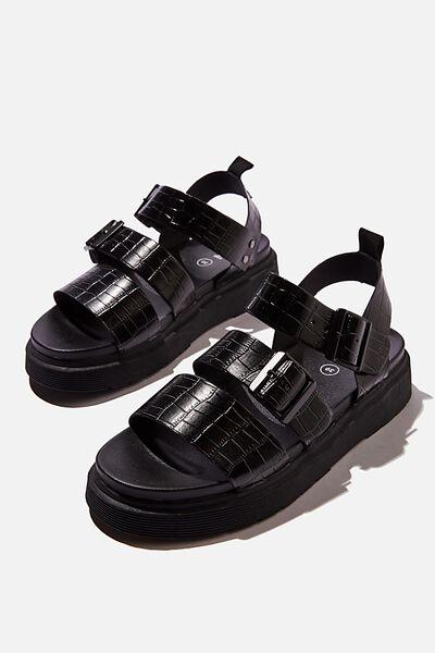 Kim Combat Sandal, BLACK CROC