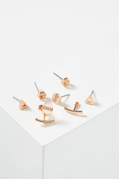 Cassandra Triangle Core Stud Pack, ROSE GOLD