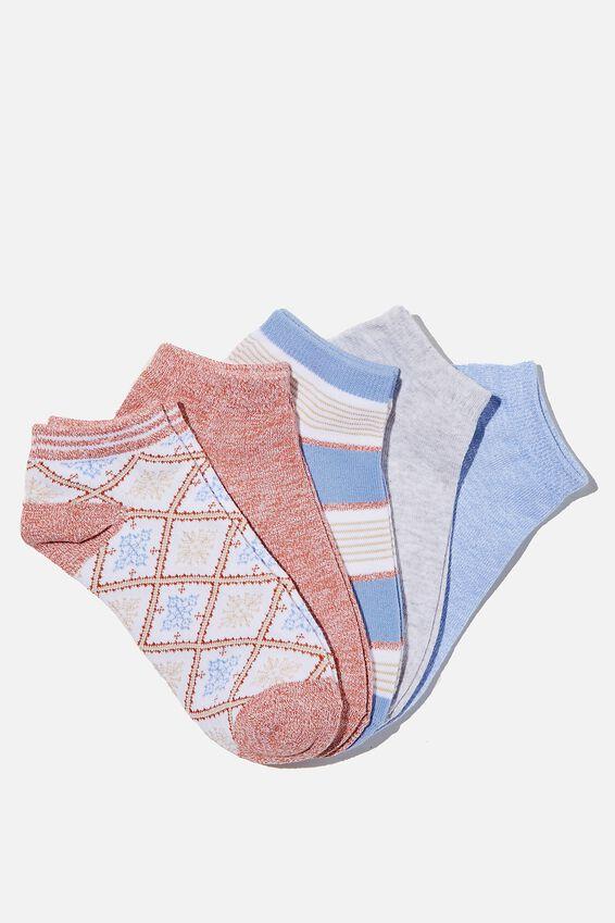5Pk Ankle Sock, CHUTNEY FAIR ISLE