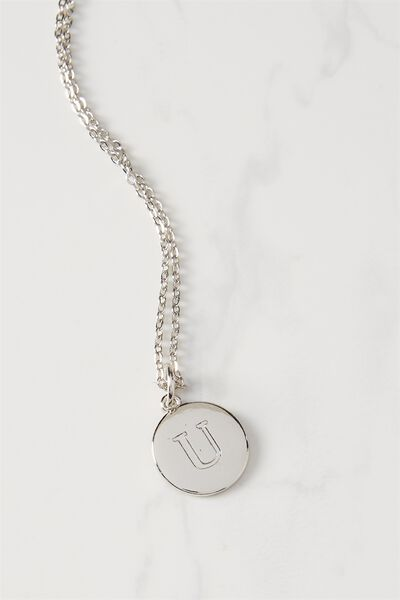 Letter Flat Pendant Necklace, SILVER - U