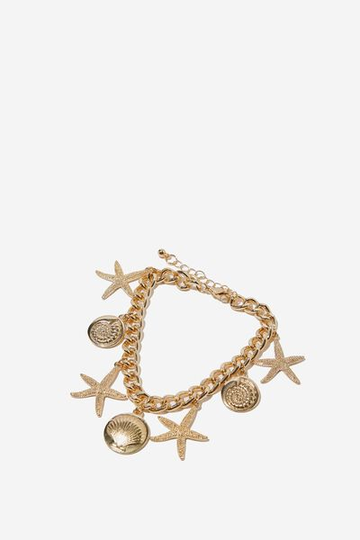 Trinket Shells Bracelet, GOLD COWRIE