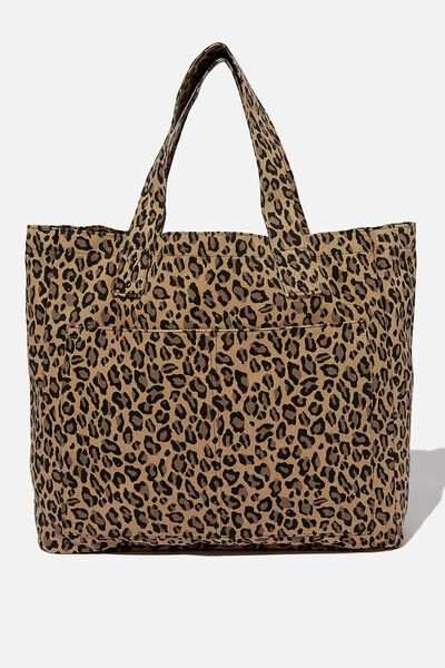 Max Washed Weekend Tote Bag, LEOPARD