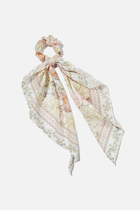 New York Convertble Scrunchie, KAIA FLORAL AND SHELL BLUSH