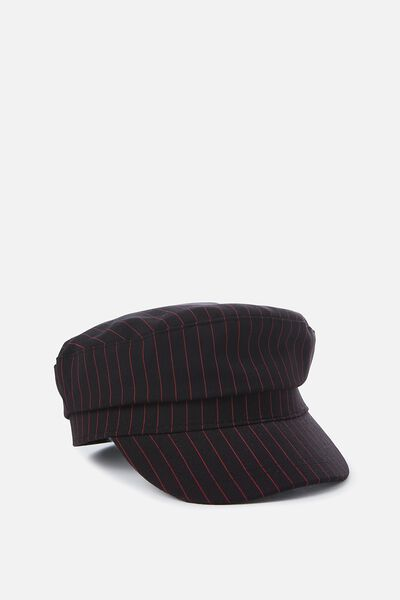 Bailey Baker Boy Cap, NAVY/ RED STRIPE