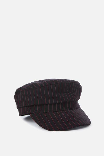 Bailey Baker Boy Cap, NAVY/ RED STRIPE