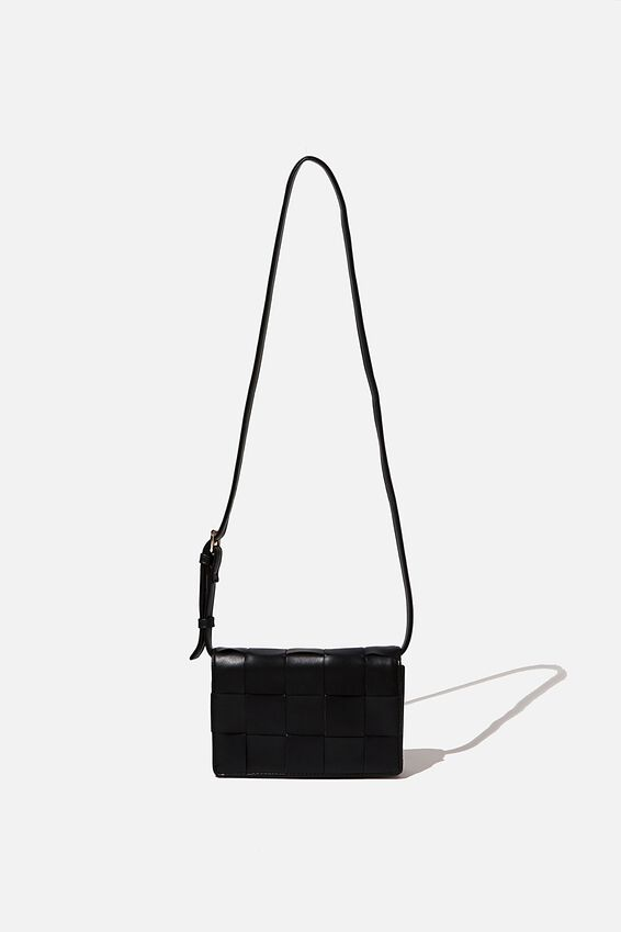 Christy Woven Cross Body Bag, BLACK