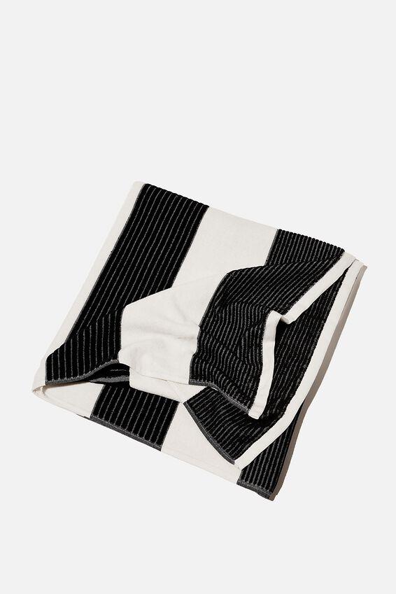 Bondi Rectangle Towel, BLACK AND WHITE HORIZONTAL STRIPE