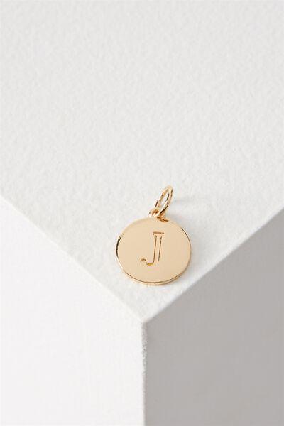 Letter Flat Pendant Charm, GOLD - J