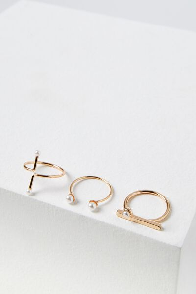 Pearly Ring Set, ROSE GOLD