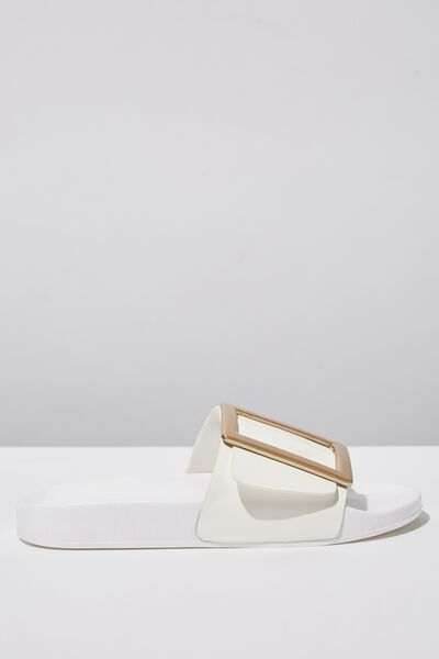 Wild Slide, WHITE/GOLD BUCKLE