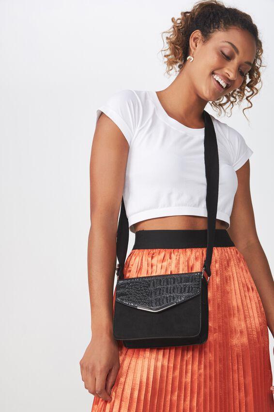 Sienna Handbag, BLACK CROC/MICRO SPLICE