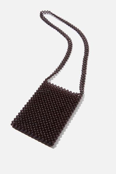 Beaded Cross Body Bag, BLACK