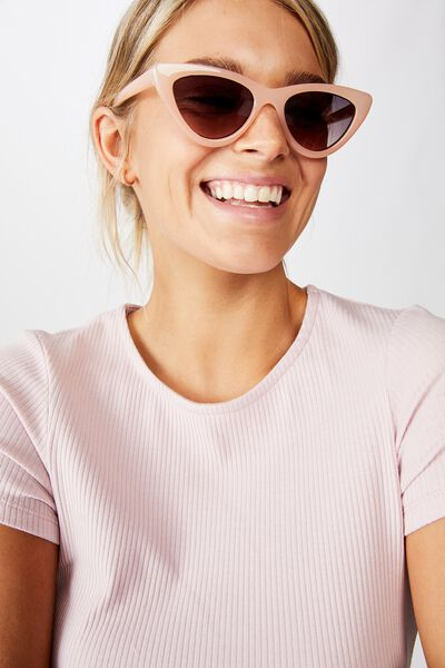 Narrah Short Frame Cateye Sunglasses, MILKY BLUSH