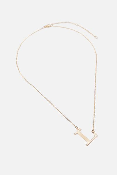 Tilted Letter Necklace, GOLD L