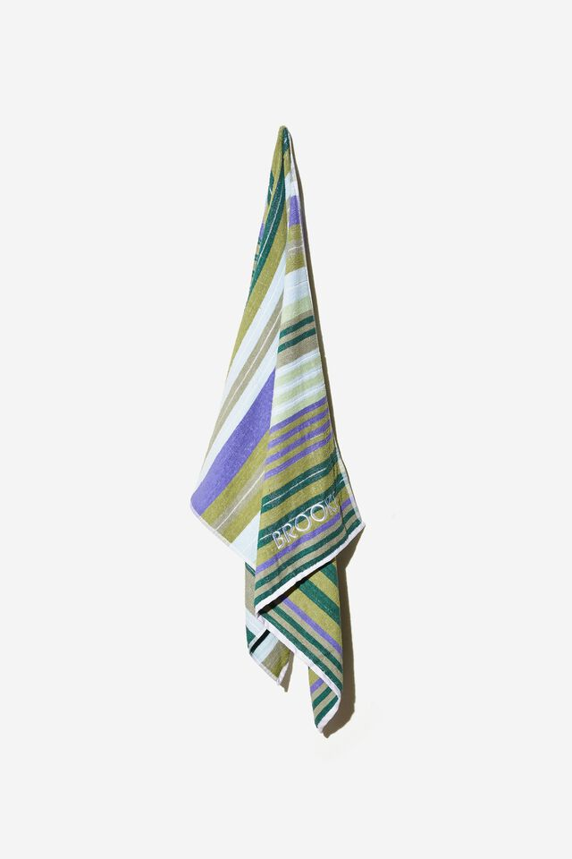 Personalised Bondi Rectangle Towel, FOREST GREEN VERITY VARIEGATED STRIPE