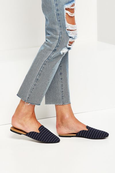 Sally Slipper Mule, NAVY STRIPE