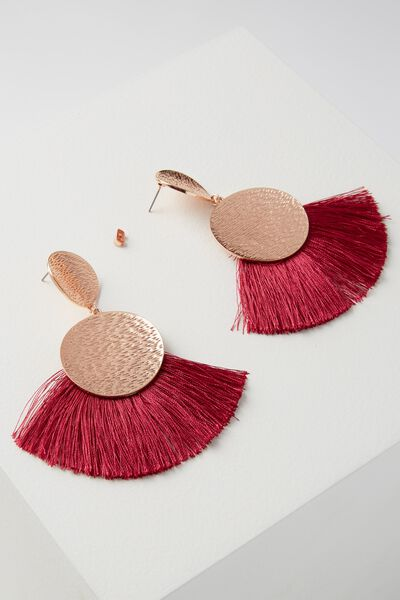 Metal Fan Tassle Earring, VIVACIOUS/ROSE GOLD